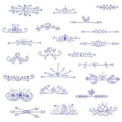 Big set of liner pen hand drawn vignette dividers
