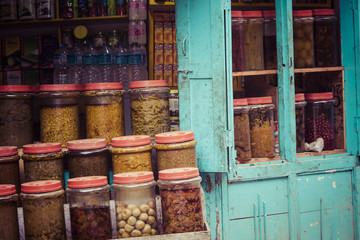 Traditional spices in local shop, Kathmandu, Nepal.