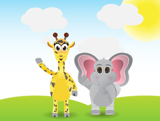 Funny cartoon giraffe and elephant say hallo
