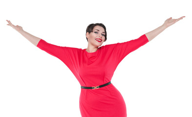 Happy beautiful plus size woman in red dress with hands up  isol