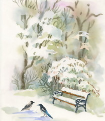 Watercolor winter forest with trees and crows on snow
