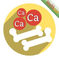 Bone icon with calcium