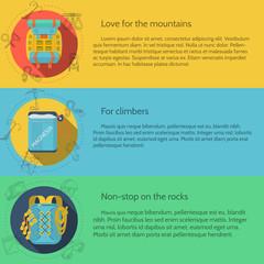 Rock climbing flat color vector illustration