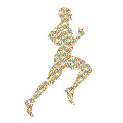 Runner silhouette created by numbers