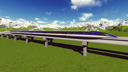 Maglev train. Raster. 8