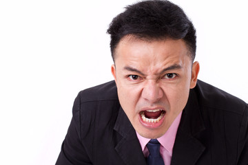 angry businessman shouting, screaming