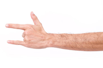 hairy man hand giving I love you hand gesture