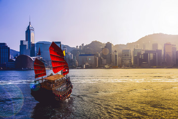 Keuken foto achterwand China Travelling Hong Kong by junk boat
