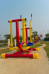 colorful for exercise equipment at the health parks