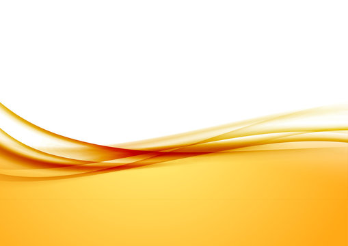 Abstract orange swoosh satin wave line border