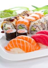Foto op Aluminium Sushi bar Sushi set on white plate over white background