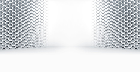 Abstract white interior with honeycomb on wall