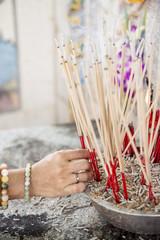 joss stick pot at the graveyard,Thailand
