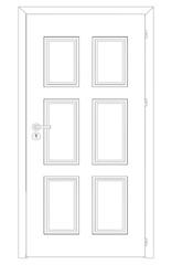 Sketch of closed wire-frame door. Vector Illustration