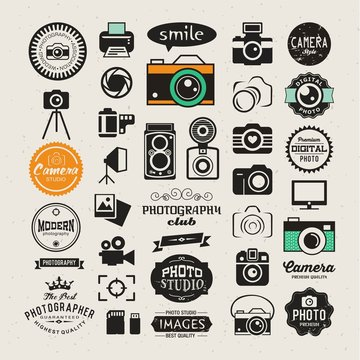 Vector photography logo templates and logotypes collection