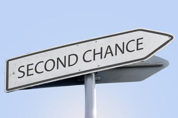 second chance words concept on road sign