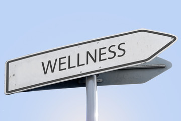 wellness word concept on road sign