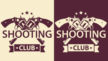 Shooting Club, vintage emblem with crossed revolvers, eps10