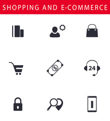 Online shopping, e-commerce flat icons, vector, eps10