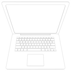 Wire-frame open laptop. Top view. Vector illustration