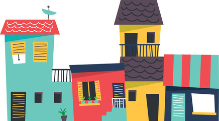 cartoon house isolated on white background