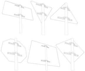 Set of wire-frame road signs. Rear view. Vector illustration
