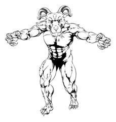 Ram mascot attacking