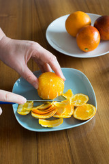 Peeling Orange with Knife