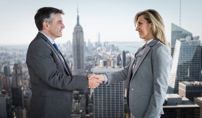 Pleased businessman shaking the hand of content businesswoman
