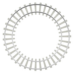 Circle railway isolated on white background, top view