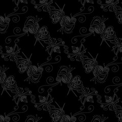 Seamless pattern in gray on black background