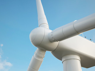 Wind turbine with blue sky. 3d illustration