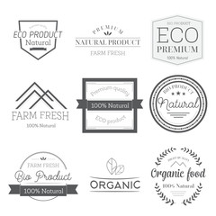 Set of elements for labels and badges for organic food and drink