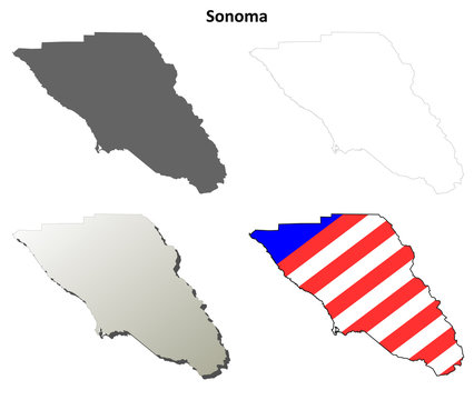 Sonoma County (California) outline map set