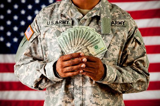 Soldier: Holding Money Fan