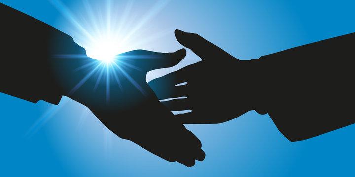 Poignée de main, symbole de l'alliance et le partenariat pour réaliser avec succès un projet commun