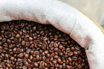 Roasted coffee beans on the market