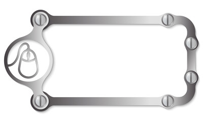 vector metal frame with screws and mouse icon