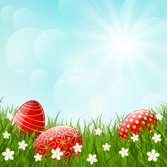 Easter red eggs on green grass