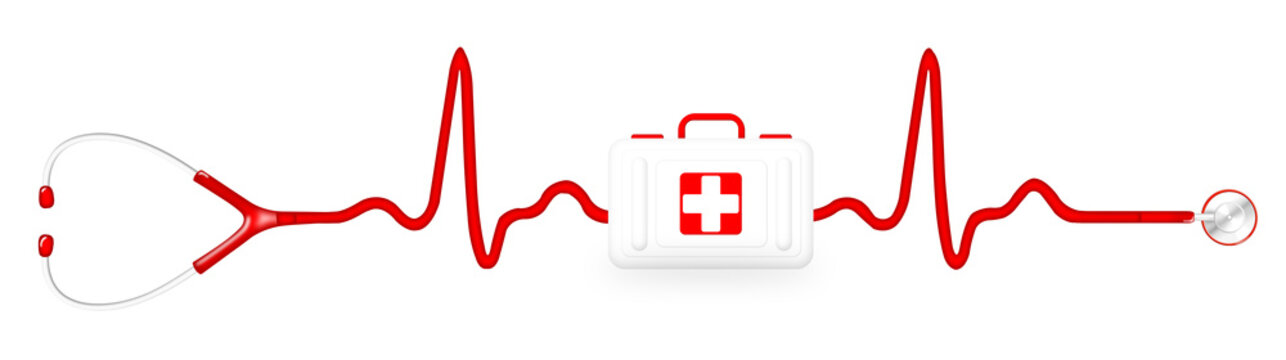 First aid kit with a stethoscope and ECG