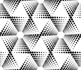 Black and white geometric seamless pattern with circle.