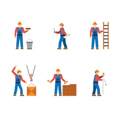 Construction worker people silhouettes icons flat set isolated