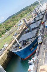 Tanker leaving Gatun Locks, Panama Canal