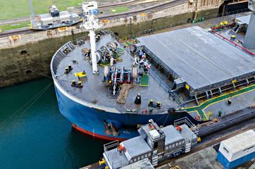 Oil tanker in  Panama Canal