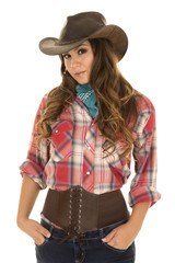 cowgirl red plaid shirt front hands in pockets look