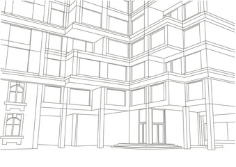 architectural sketch large apartment building with balconies