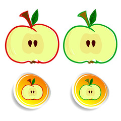 sticker apple color vector