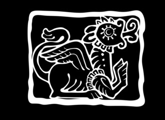 Ethnic griffin silhouette. Vector illustration. Black and white