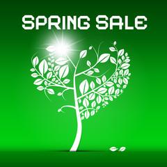 Spring Sale Green Vector Illustration
