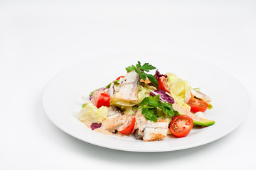 The fresh salad with avocado and smoked eel
